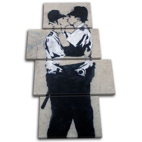 Kissing Coppers Banksy Street - 13-1186(00B)-MP04-PO